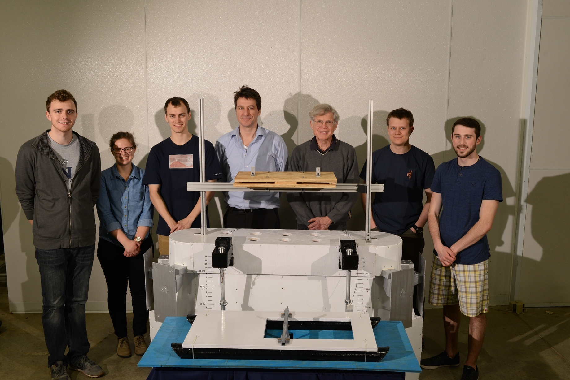 The research team behind a scale model of the turbine platform built for testing