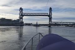 Center span of the bridge raised for boat traffic