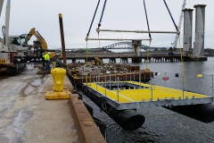 Turbine Deployment Platform being lowered into the water